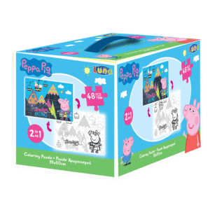 LUNA Παζλ Χρωματισμού Peppa Pig 2 Όψεων, 48 Τμχ., 35x50 εκ (482587), box