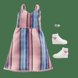 Mattel Barbie® Fashions Μοδάτα Σύνολα - Διάσημες Μόδες Roxy Striped Dress & 2 Accessories (GWF05/GRD43)