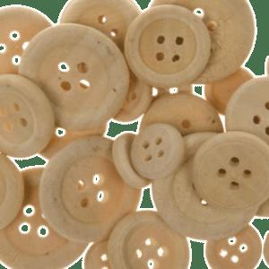 Διακοσμητικά Κουμπιά Μπεζ Ξύλινα 30τεμ, Ø 22mm,Ø 18mm,Ø 7mm (27669)