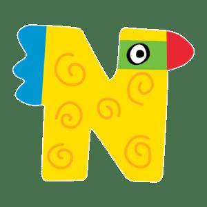 Tatiri Ξύλινο Γράμμα 'N', 2 Σχέδια (00379)