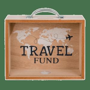 Κουμπαράς - Κορνίζα Ξύλινος Travel Fund Υ18x20,5x7,5εκ. (30445)