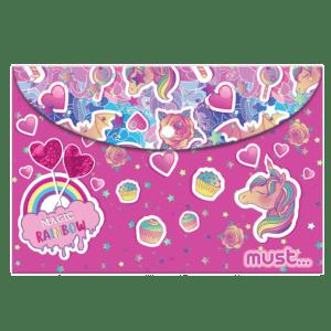 Must Φάκελος με Κουμπί A4 Ροζ Magic Rainbow (0584290)