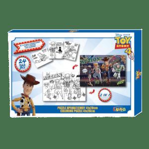 LUNA Παζλ Χρωματισμού Toy Story 4, 2 Όψεων με 3 Σελίδες Χρωματισμού, 24 Τμχ., 41x28 εκ (0562321)