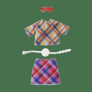 Mattel Barbie® Fashions Μοδάτα Σύνολα - Σετ Καρό Μπλούζα με Φούστα & Αξεσουάρ (GRC10/GWC27)
