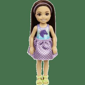 Mattel Barbie® Club Chelsea™: Καστανή Κούκλα Με Πουά Αστραφτερή Φούστα, Μπλουζάκι Με Μονόκερο & Πράσινα Παπούτσια (DWJ33/GXT39)