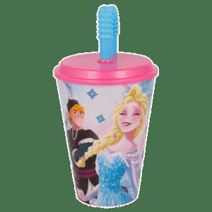 Disney Frozen Πλαστικό Ποτήρι Με Καλαμάκι 430ml (B17930)